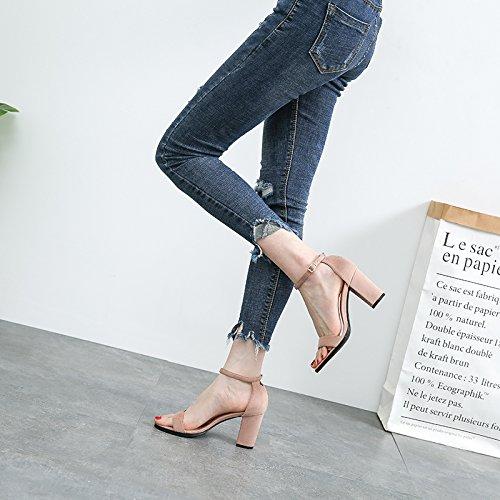 VIVIOO Zapatos de tacón alto Sandalias de tacón alto Sandalias Mujeres Zapatillas de tacón alto Zapatos de tacón grueso Zapatos romanos Zapatos de tacón alto Zapatos de tacón alto Zapatos romanos Nude color 8CM