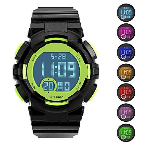 Kids Boys Girls Sport Watch 50M Waterproof Military Dual Display Led Kids Watch