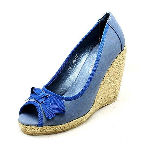 Lona de las señoras de la cuña del dedo del pie del pío de la corte Zapatos Azul