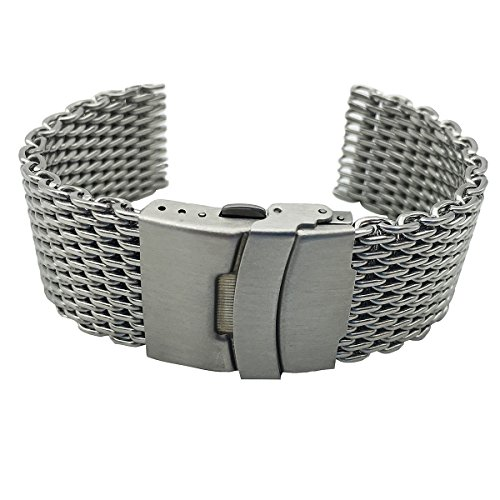 Leesting Shark Mesh 20 22 24mm Silver Diving Thick Milanese Replaceable Watch Band Fit Seiko Citizen Casio IWC(22)
