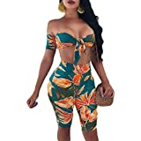 CutieLove Women's Jumpsuits Sexy Floral Strapless 2 Pieces Outfits Tube Bandeau Crop Top Short Pants Set Rompers