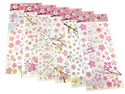 (Deco Craft Sakura Stickers,Self-Adhesive Decorative Paster Decals for Kids' Scrapbooking or Card Making(6 Sheets Featured with Different Cherry Blossom Patterns))