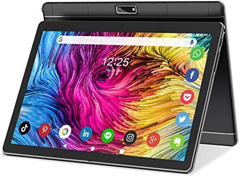 Tablet 10 Inch Android 9 HD Touchscreen Phone Tablets with Sim Card, Quad Core, 32GB ROM /128 GB Expand, 3G Phone Call, WiFi, Bluetooth, Dual Camera, GPS, GMS Google Certified Tablet PC, (Black)