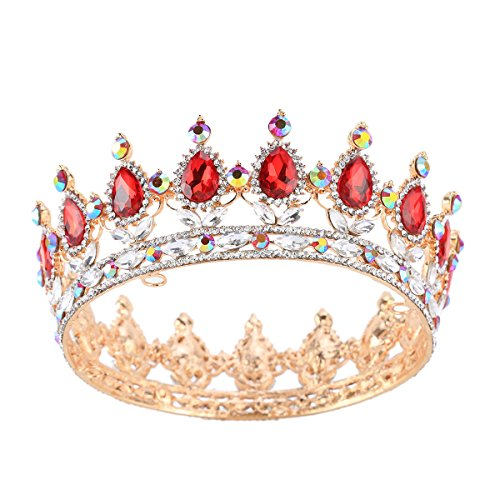 Stuff Crystal Crown Tiaras Prom Party Wedding Bridesmaid Hair Piece with Bobby Pins (Red/Crystal AB)