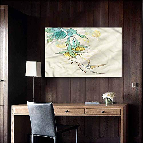 Gabriesl Wall Mural Wallpaper Stickers Hummingbird Colibri Exotic Plant for Kids Rooms Boy Room Size : W48 x H32 ()