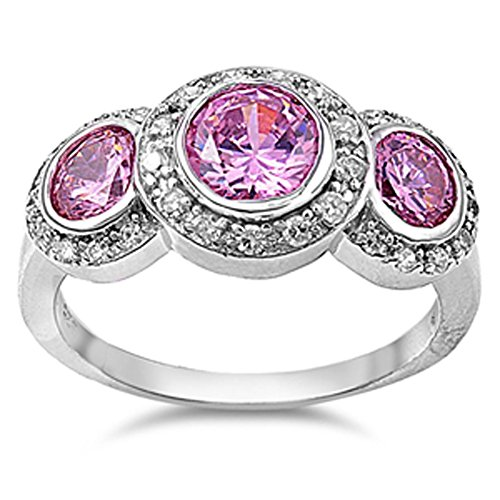 Wedding Ring New .925 Sterling Silver Band Size 8 (Pink Topaz Ring)