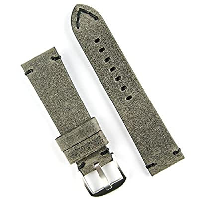 B & R Bands 24mm Charcoal Gray Classic Vintage Leather Watch Band Strap Black Stitch - Large Length from B & R Bands
