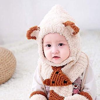 YONKINY Ni/ños Bebe Sombrero y Guantes Oto/ño Invierno C/álido Sombrero de Beb/é Mitones Gorrito de Invierno con Oreja