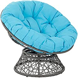 related image of OSP Designs  Papasan Chair, Blue Cushion/Gray