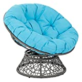 OSP Designs  Papasan Chair, Blue Cushion/Gray Frame For Sale