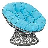 OSP Designs  Papasan Chair, Blue Cushion/Gray Frame