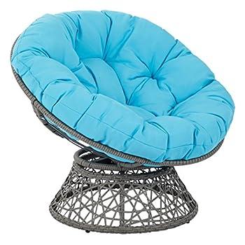 OSP DesignsPapasan Chair, Blue Cushion/Gray Frame