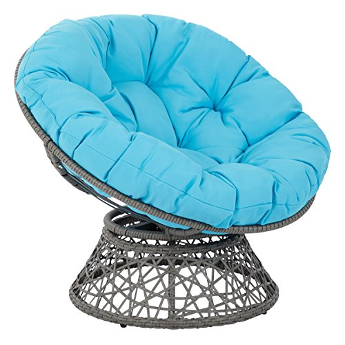 OSP Designs Papasan Chair, Blue Cushion/Gray Frame