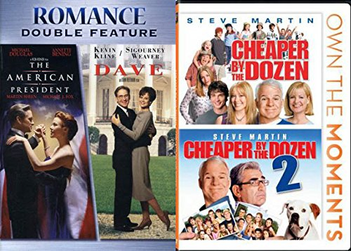 Presidential Family Comedy DVD Bundle: The American President / Dave + Cheaper by the Dozen / Steve Martin Cheaper by the Dozen Part 2 (4 Movie Pack)