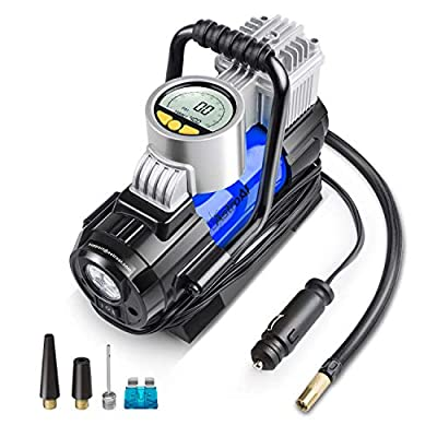 AstroAI Portable Air Compressor Pump, Digital Tire Inflator 12V DC Electric Gauge with Larger Air Flow 35L/Min, LED Light, Overheat Protection, Extra Nozzle Adaptors and Fuse, Blue (Renewed): Automotive