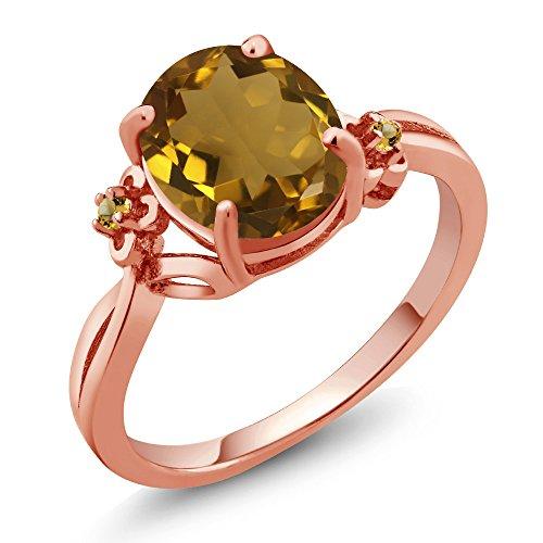 Gem Stone King 2.04 Ct Oval Whiskey Quartz Yellow Simulated Citrine 14K Rose Gold Ring (Size 9)