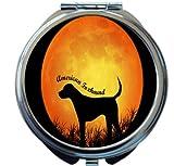 Rikki Knight American Foxhound Dog Silhouette By Moon Design Round Compact Mirror