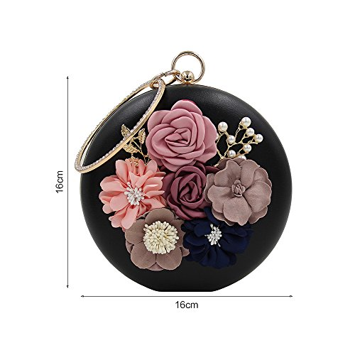Party Jin Beaded Ya Handbag for Flower Shape Blue Clutches Women Wedding Evening Purses Round Pearl 4O0dOq