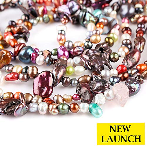 Jaguar Gems Multi Color Cultured Pearl Beads Coated Stones Mala Strand Loose Crystals Jewelry Making Projects Colorful Gemstone Collection Pearl Jewelry-DIY Supply | 240+cts| 350+ Beads | 1.5 Meter