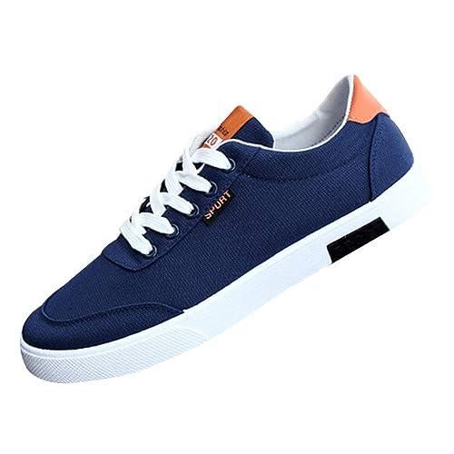 Huatime Casual Lona Zapatos Hombre - Hombres con Cordones Flat Resbalón Entrenadores Plimsolls Plimsole Zapatillas Sneaker Cómodo Informal Deportes ...