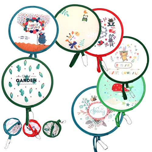 MeiMeiDa 10 PCS Foldable Round Fan Cute Handheld Round Fold Fans, Pocket Folding Fans Hand Fan for Party as Dec or Goody Bags Fillers and Generate a Breeze for Yourself in Summer, Color Random (Disc Fan)