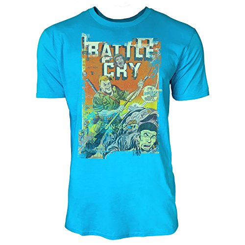 SINUS ART® Battle Cry Herren T-Shirts in Karibik blau Cooles Fun Shirt mit tollen Aufdruck