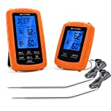 Belwares Meat Thermometer with Dual Probes and Timer for Safe and Remote BBQ Grilling Baking Kitchen Cooking and Smoker The Best Digital Wireless Cooking Thermometer with Pre-Programmed Temps