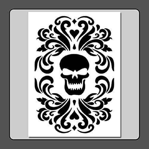 9 X 12 inch Gothic Skull Damask Stencil Template -