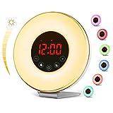 vodool Sunrise Alarm Clock, Digital LED Wake Up Light Clock by 7 Color Switchs 10 Brightness Levels and FM Radio, Multiple 6 Nature Sounds sunrise Sunset Simulation for Bedrooms