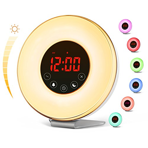 vodool Sunrise Alarm Clock, Digital LED Wake Up Light Clock by 7 Color Switchs 10 Brightness Levels...