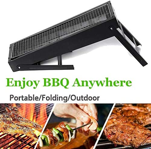TeRIydF Folding Outdoor Barbecue Grill Iron Barbecue Shop Barbecue skewers Barbecue Portable Camping Picnic Barbecue Charcoal Stove Shelf