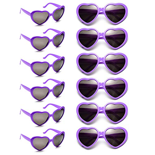 12 Pack Wholesales Heart Shape Design Neon Colors Cute Love Sunglasses for Birthday, Bachelorette, Sunmmer Vacation Parties 100% UV Protection Eyewear for Women and Girls (purple) -