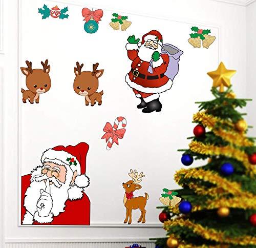 Easma Santa Claus Door Decals Merry Christmas Outdoor Decals Holiday Garage Door Decor Reindeer Wall Décor