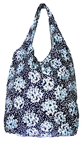 Trendy Sturdy Shopping Tote Bag - Blue White Grey Dots Pattern