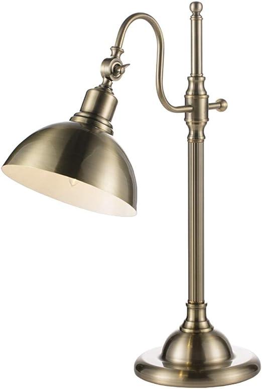 &Luz para Leer Lámpara de Escritorio Oficina Vintage Lámparas de Mesa Sala de Estar Decoración Americana Habitaciones rústicas Luces de Noche Tejido Sombra Metal Lámpara de Noche: Amazon.es: Hogar