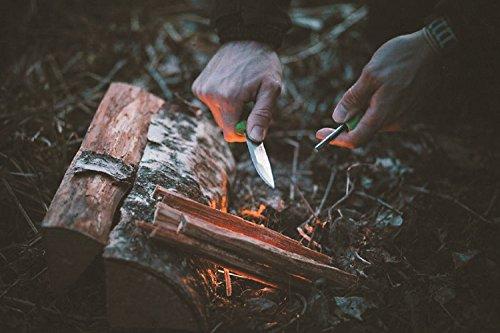 Light My Fire Swedish FireKnife Fixed Blade Knife with 9.5 cm (3.75 Inch) Sandvik Stainless Steel Blade and Swedish FireSteel Fire Starter, Orange by Light my Fire (Image #4)