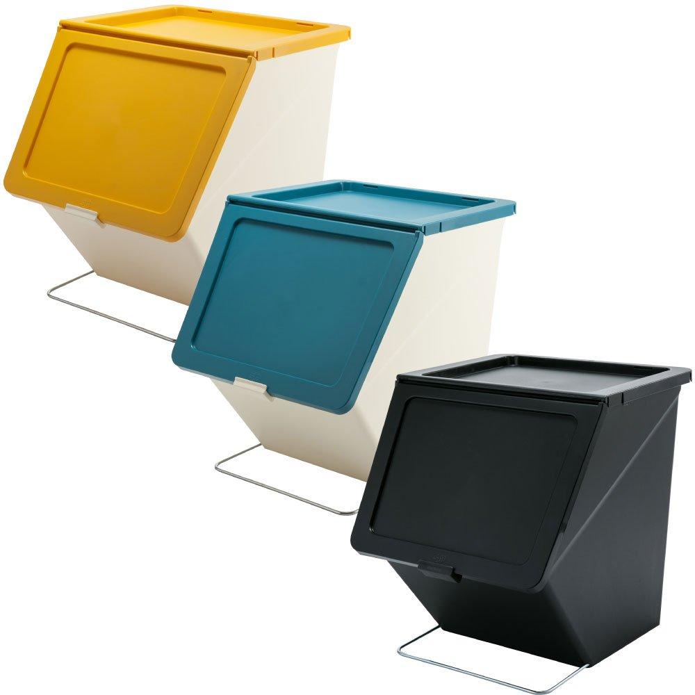 スタックストー ペリカン ガービー 38L 全6色の中から選べる3個セット ゴミ箱 ごみ箱 ダストボックス おしゃれ ふた付き stacksto pelican (イエロー×ブルー×ブラック) B0759GQTZY イエロー×ブルー×ブラック イエロー×ブルー×ブラック
