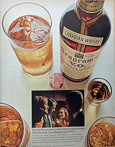 n Whiskey, 50's Print Ad. full Page Color Illustration (successful party) Original Vintage, Rare 1956 Collier's Magazine Art (Seagram Vo Canadian Whiskey)