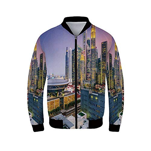 YOLIYANA Urban Lightweight Cycling Men's Jacket,Skyline of Singapore at Evening Skyscrapers Stadium Active City Life Southeast Asia Decorative for Sports,XXL ()