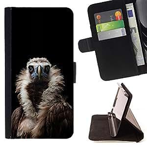 - Queen Pattern FOR HTC One M7 /La identificaci????n del cr????dito ranuras para tarjetas tir????n de la caja Cartera de cuero cubie - condor bird black vulture nature feather -