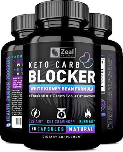 (Keto White Kidney Bean Carb Blocker + Forskolin [80 Capsules] White Kidney Bean Extract & Forskolin Extract for Healthy Weight Management & Carb Intercept w Green Tea - Starch Inhibitor for Keto Diet)