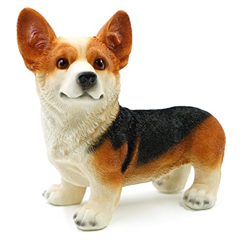 Welsh Corgi Dog Simulation Sculpture Natural Resin Home Decoration Cute Puppy for Kids Adults and Dog Person (Black) (Welsh Corgi Figurine)