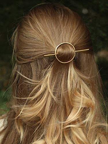 DoubleNine Open Circle Hair Slide Hair Clip Brass Hair Barrette Minimalist Rustic Women Girl Bridal Wedding Hair Accessories (gold)