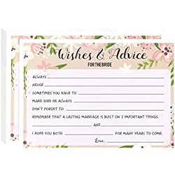 Floral Bridal Shower Games - Marriage Advice and Well Wishes, 50 Sheet Rustic Wedding Game Cards, Party Supplies for Bachelorette Party and Wedding, 50 Vintage Cards Included, 5 x 7 Inches, Pink