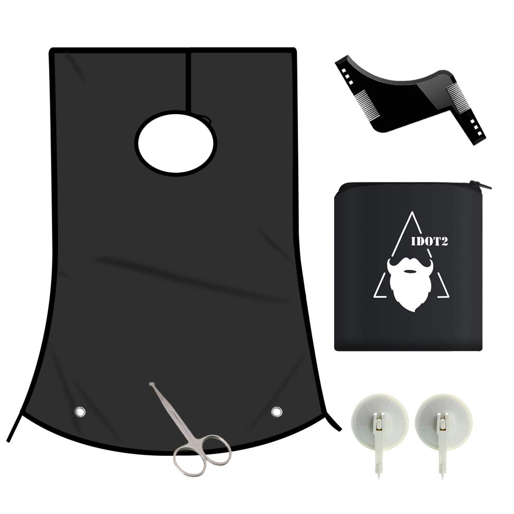 1DOT2 Professional Beard Shaving Apron Hair Clippings Catcher & Grooming Cape Apron bib+ Styling Template + Suction Cups Perfect Gift for Men (black/new)