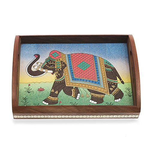Gemstone Painting - Rusticity Wooden Serving Tray - Indian Gemstone Painting Design   Handmade  