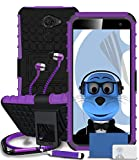 Vodafone Smart Platinum 7 Purple Shock Proof Rugged Hard Case with Viewing Stand - LCD Screen Protector - Retractable Mini Stylus Pen - 3.5mm ZIPPER Stereo Hands Free HeadPhones with Mic