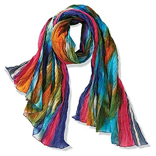 Northern Lights 100% Cotton Art Scarf Handmade Long Fair trade