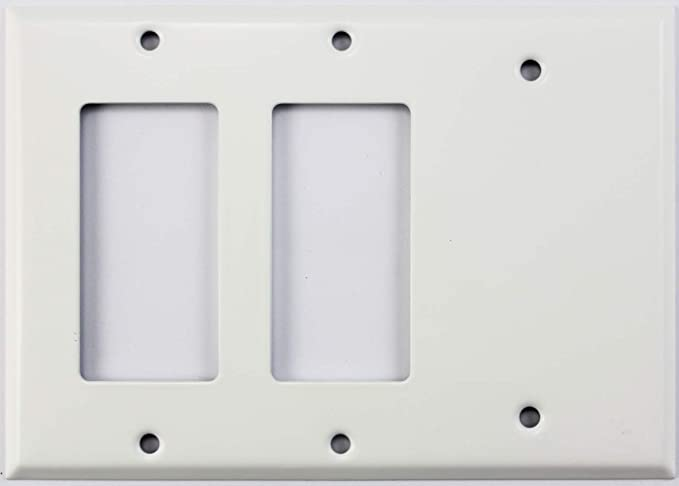 Smooth White 3 Gang Combo Wall Plate 2 Gfci Rocker Openings 1 Blank Amazon Ca Tools Home Improvement