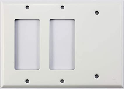 Smooth White 3 Gang Combo Wall Plate 2 Gfcirocker Openings 1